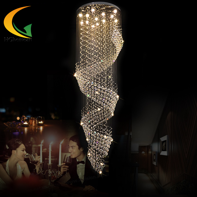 E27 fashion Crystal chandelier Au stairs long hanging led double spiral staircase hang ing villa living room lamps