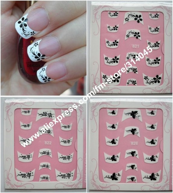 3D French Nail Tips Pictorial stickers, 3D French Nail Seal with rhinestone,French Nail Art Sticker, Nail Decoration Strips