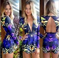 Rompers Women Jumpsuits 2016 Sexy Overalls Floral Jumpsuits V-neck Sexy Nightclub Bodysuits Playsuits Overall Rompers Feminino