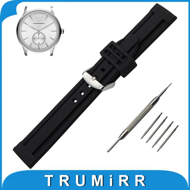 21mm 22mm 23mm 24mm 26mm Faixa De Relógio de Borracha de Silicone + ferramenta para pulseira cinto de fivela de aço inoxidável pulseira de pulso armani pulseira