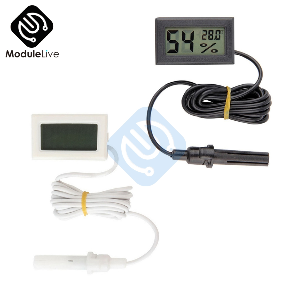 Professional Mini Probe Digital LCD Thermometer Hygrometer Humidity Temperature Meter Indoor Digital LCD Display White Black clear lcd screen digital thermometer white