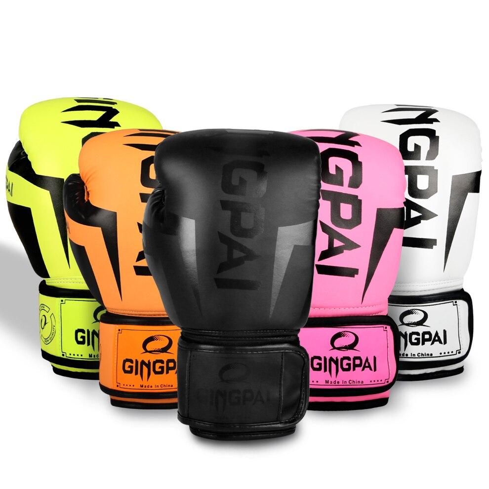 color : NEGRO-12oz Hombres y mujeres de cuero guantes de boxeo entrenamiento Muay Thai saco de boxeo mitones Kickboxing lucha 8-10-12-14 Oz