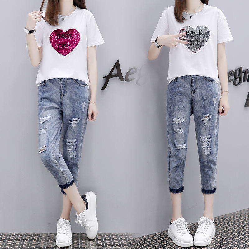 Nouveau amour paillettes t-shirts de manches courtes trou capris pantalon deux pièces tenue été 2018 sweat denim pantalon design S-XL