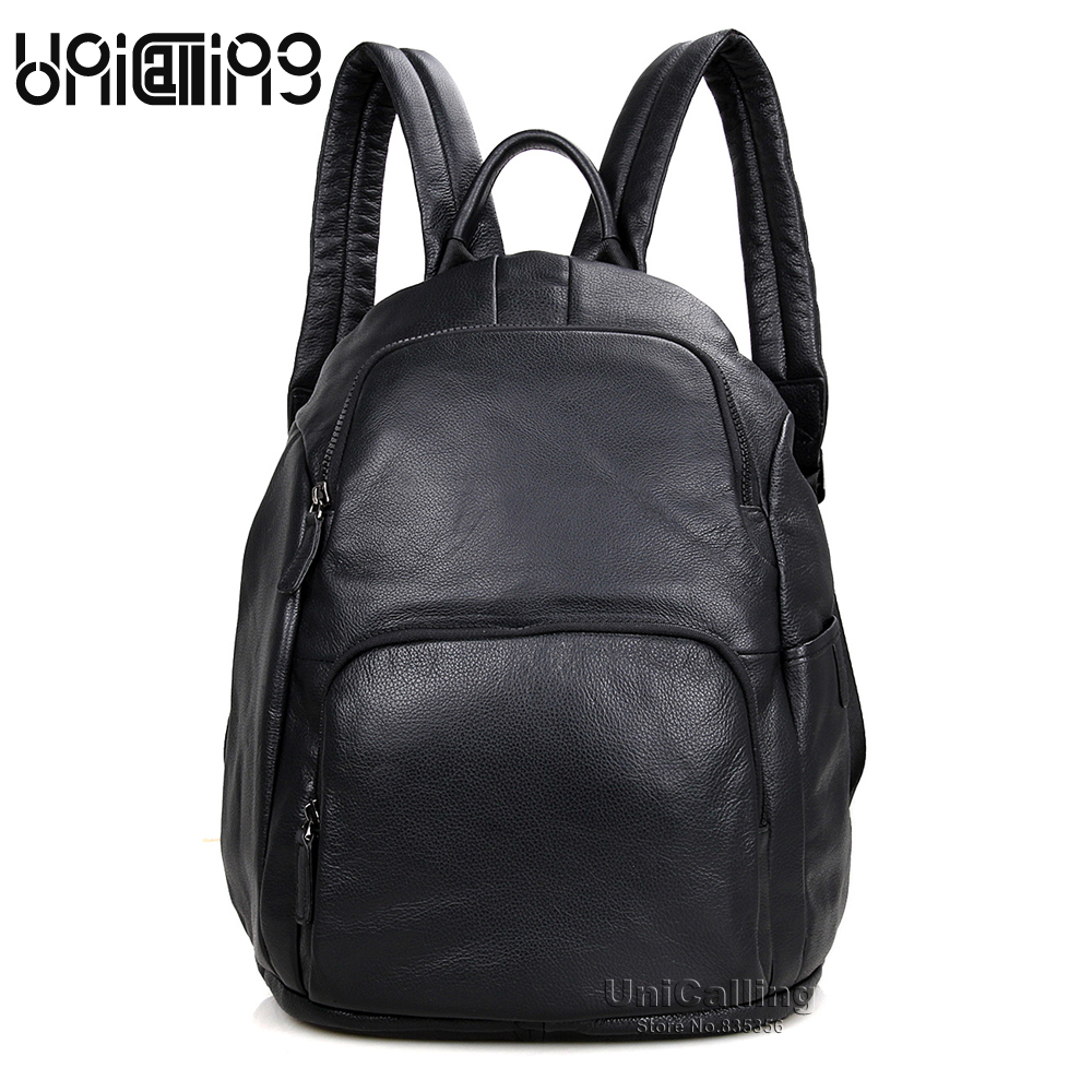 Men backpack leather fashion real cow leather backpack for men leisure men genuine leather 14