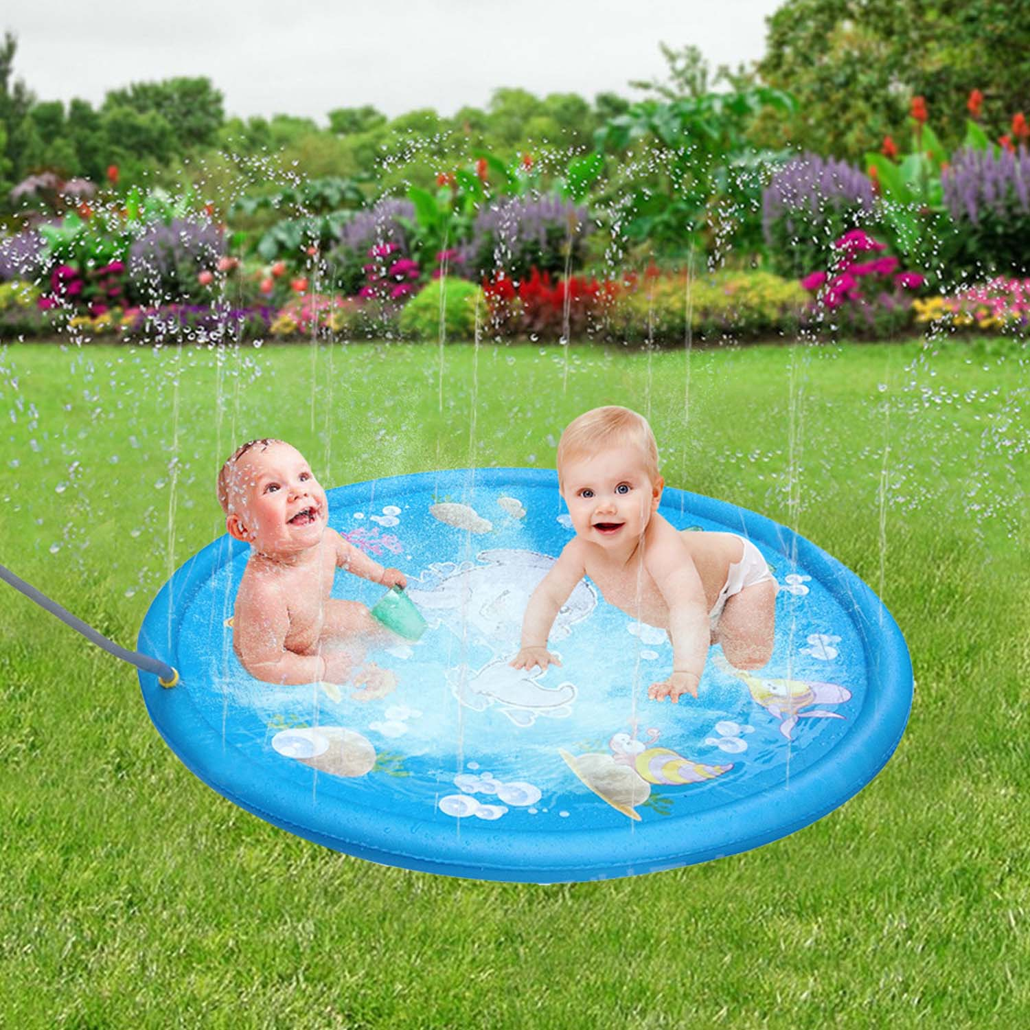 Besegad Inflatable Water Sprinkle Splash Play Mat For Children Summer Lawn Outdoor Sprinkler Toy Dolphin Water Play Mat 170cm