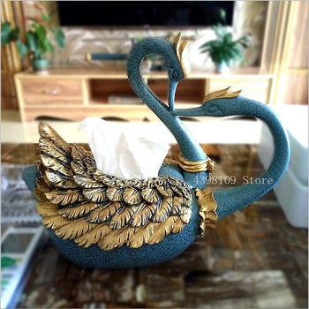 European creative resin animal tissue box living room desk tissue tube elegant Swan napkin box desktop storage box ornaments