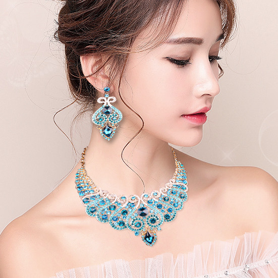 Online Shop Fashion Bridal Jewelry Sets Wedding Engagement Necklace