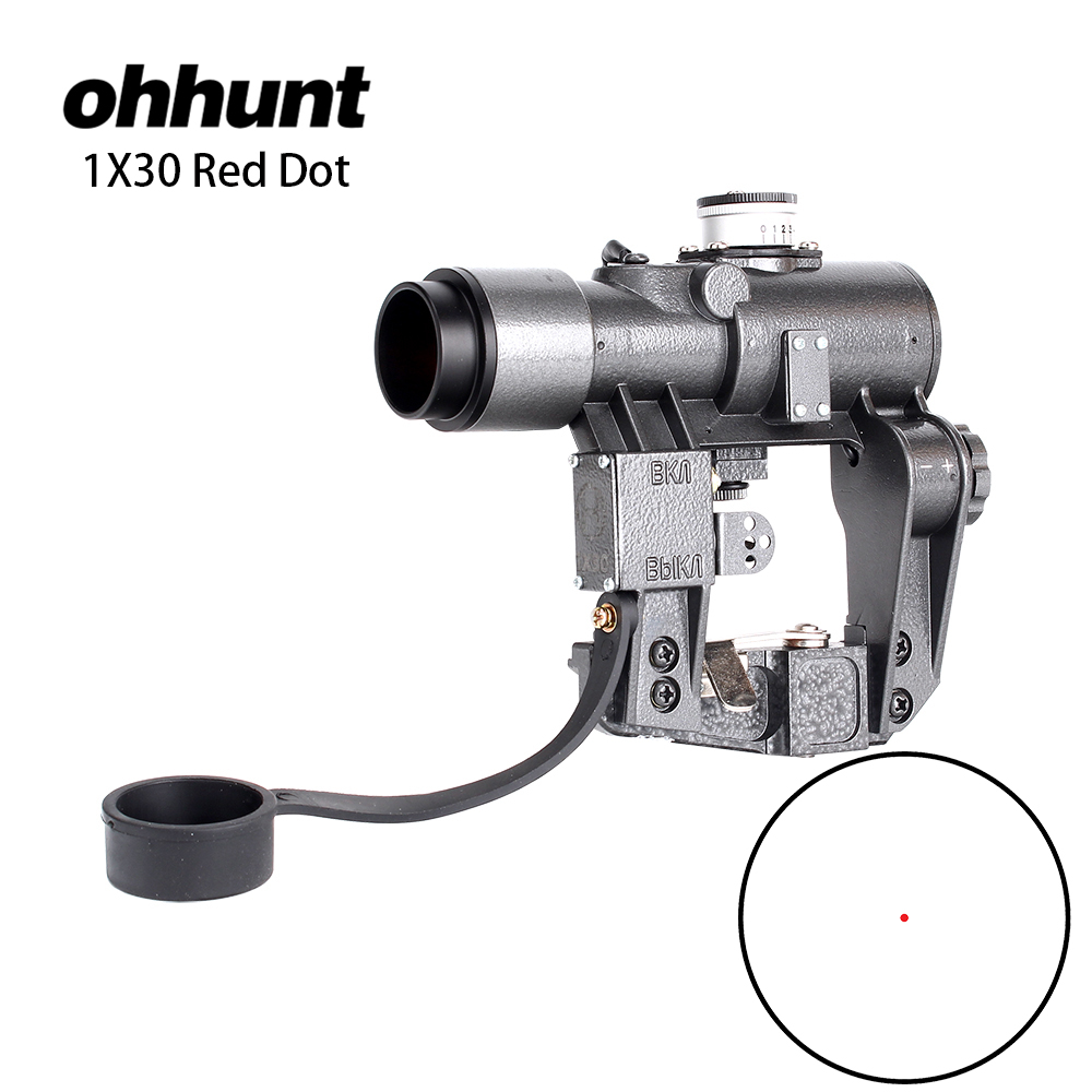 ohhunt Dragunov 1X30 Compact Riflescopes Red Illuminated Dot Sight Recoil Resistant Huting Scope for Tcatical Tigr