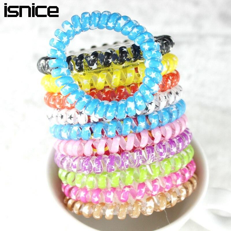 TS 10pcs/lot 4 color Big Size womenTelephone wire headdress hair ...