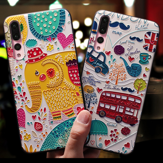 Suave TPU 3D en relieve para Huawei Honor 8X 7A Pro 9 Lite 10 para Huawei P Smart 2019 P30 p20 P8 P9 P10 Mate 10 20 Lite Pro caso