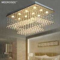 Good K9 Crystal Chandelier Lighting Fixture Rain Drop Rectangle Clear Crystal Ceiling Lustre de cristal for household Hotel Deco