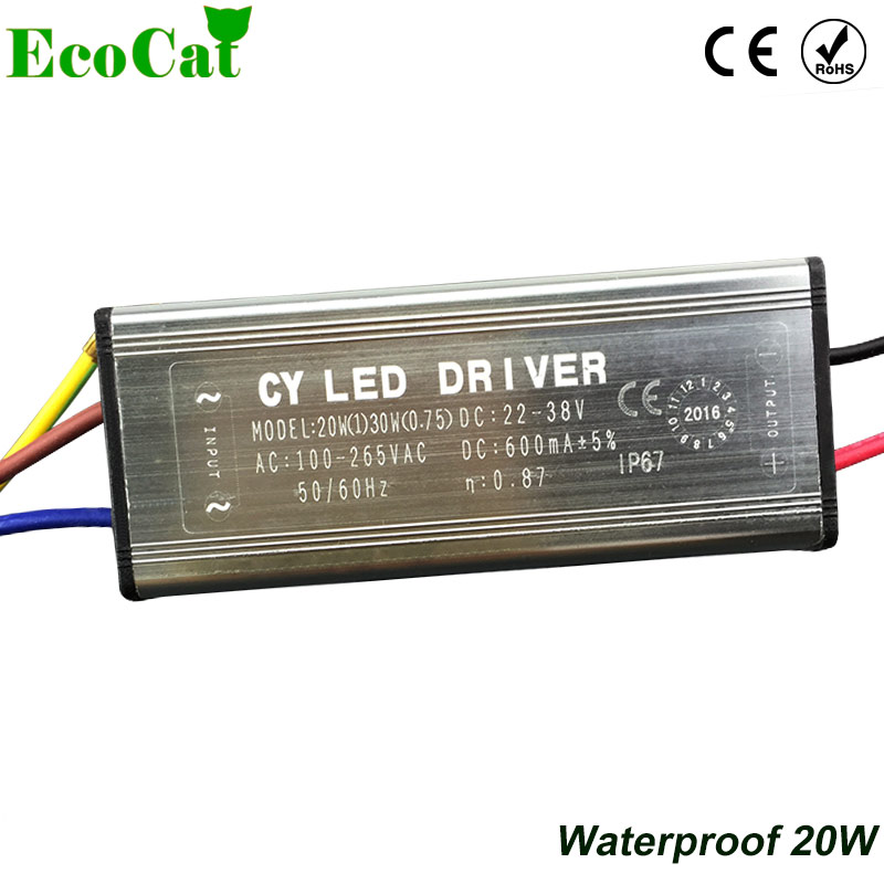 ECO CAT LED Driver 20W Waterproof COB LED Power Supply Output 28V-36V Adapter Flood Lights Tunnel Light Street Lights 110V 220V 40w led driver dc140 150v 0 3a high power led driver for flood light street light constant current drive power supply ip65