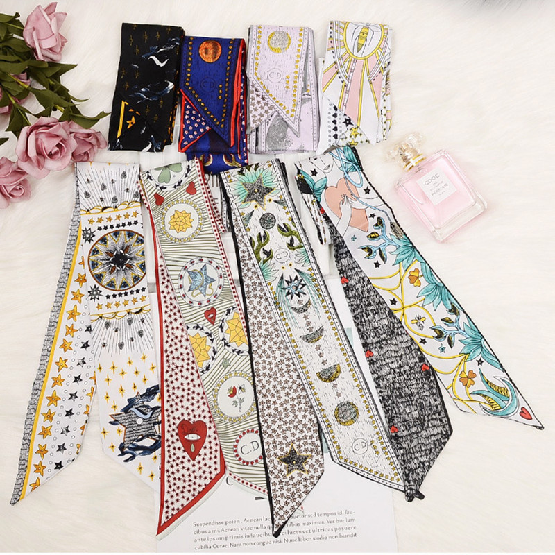 New Tarot Element Constellation Print Women Silk Riband Handle Bags Scarf Small Ribbon Hair Band Headband Scarves & Wraps(China)