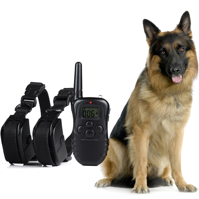 300 Meters 100LV Remote Electric Shock Anti-bark Vibra Pet Training Collar Control Trainer Aids With LCD Display For 2 Dogs