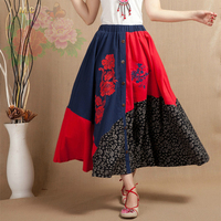 Linen Cotton National Trend Skirts Women Plus Size Elastic Waist Embroidery Skirts Chinese Style Mid Calf