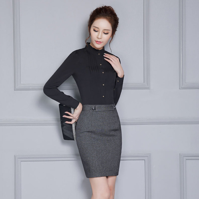 Novelty Black Formal OL Styles Spring Autumn Female Work Suits With 2 Piece Skirt And Blouses Ladies Office Shirts Tops Sets