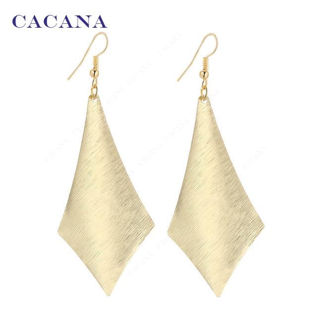 CACANA Dangle Long Earrings For Women Simple One Rhombus Top Quality Bijouterie