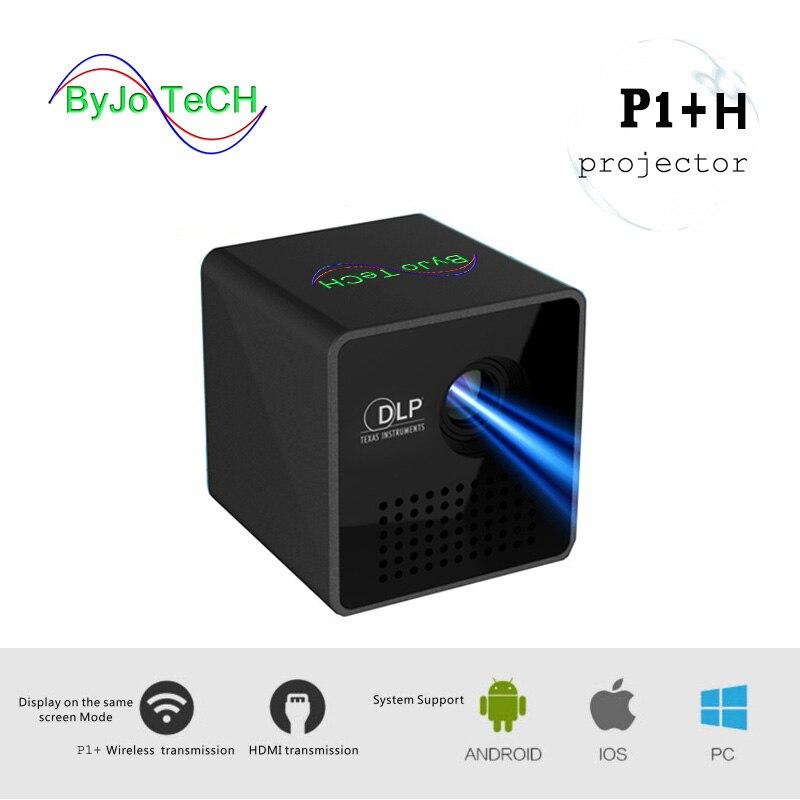 ByJoTeCH P1 + H Support de projecteur Mobile sans fil Miracast DLNA poche maison film projecteur Proyector Beamer batterie