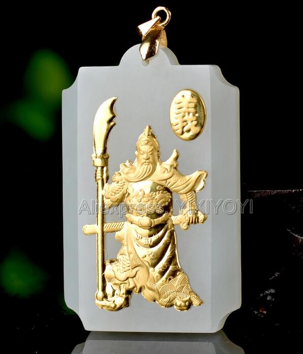 Natural White Hetian Jade + 18K Solid Gold Inlaid Carved GuanGong Lucky Amulet Pendant + Rope Necklace Fine Jewelry +Certificate