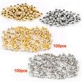 LHLL-100 unids plata + 100 unids Remache de oro con diamantes de imitación de diamante 7mm