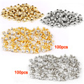 LHLL- 100pcs silver + 100 pcs golden Rivet with rhinestone diamond 7mm