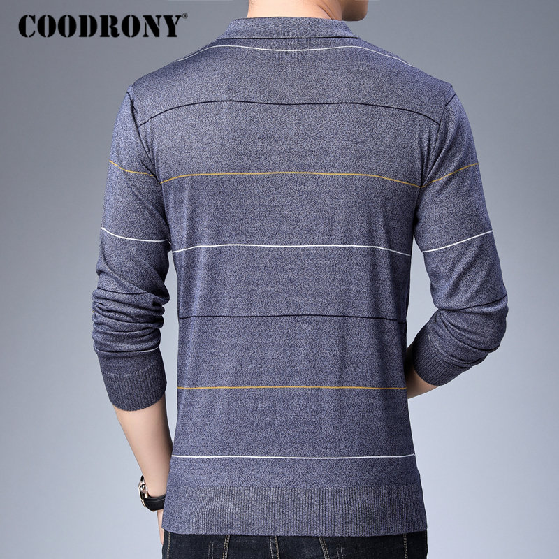 Image 3 - COODRONY Brand Sweater Men Fashion Striped Pullover Men Autumn Winter Knitwear Pull Homme Soft Warm Cotton Woolen Sweaters 91042-in Pullovers from Men's Clothing