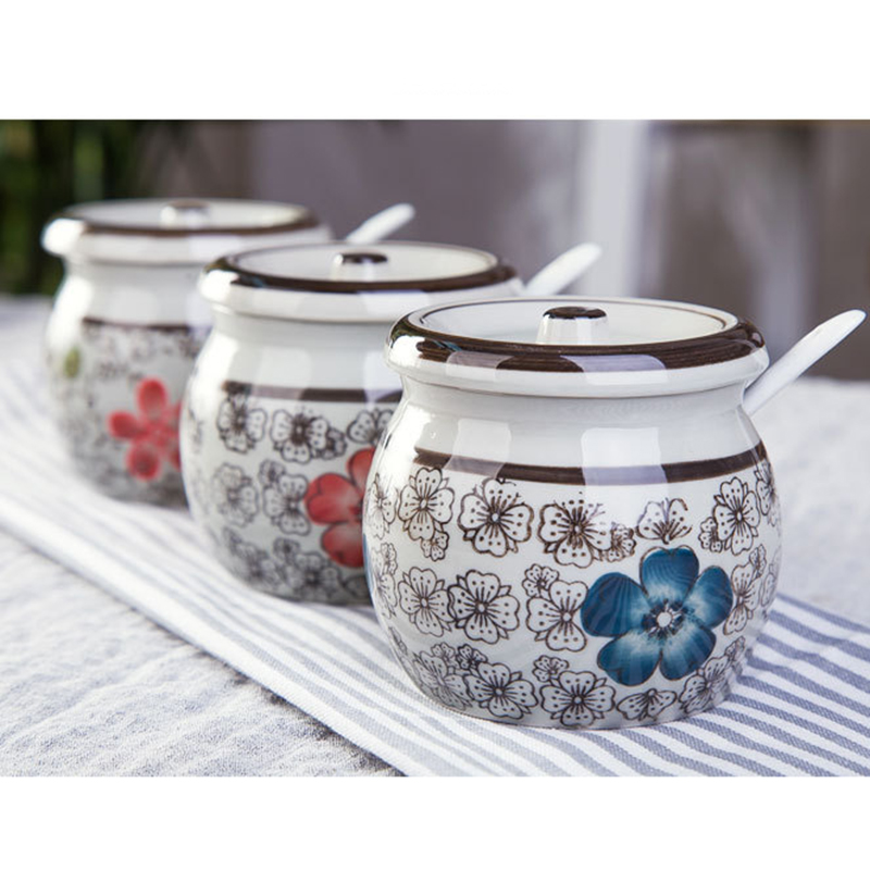 Useber Japanese Underglaze Color Ceramic Seasoning Pots Creative Hand Painted Salt Suger Cans Antique Green Glaze To Send Spoon