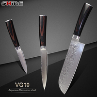 זול 3 יחידות סט סכיני מטבח XYJ מותג יפני VG10 דמשק פלדת דמשק blade צבע עץ ידית 7