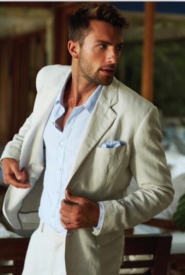 2017 Latest Coat Pant Designs Creamy White Beige Linen Casual Men Suit Slim Fit Suits Tuxedo Outfit 2 Piece Vestido Jacket+Pant