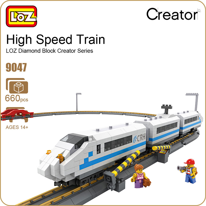 LOZ 2017 New Diamond Blocks Remote Control High Speed Train Rail 3D Model CRH Toys For Children Gifts 9047 660PCS