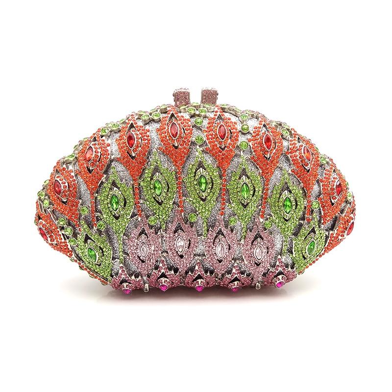 Elegant women evening party good quality handbag diamonds luxury clutches shell shape crystal purses Bridal wedding
