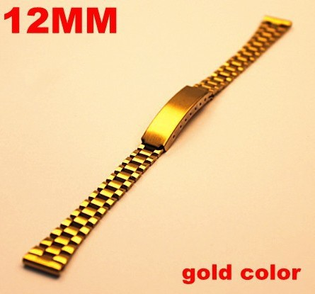 Wholesale 20PCS/lots High quality watch band (12mm and 18MM) ( gold color) stainless steel watch strap - 10069 | Watchbands