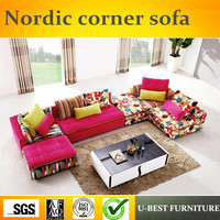 U BEST Northern European combination living room corner of the Royal concubine three people sofas simple modern small family fur