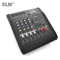 ELM мини караоке аудио микшер контроллер 4 канала Микрофон Звук микшерный пульт Усилители домашние с USB Встроенный 48 В Phantom Мощность