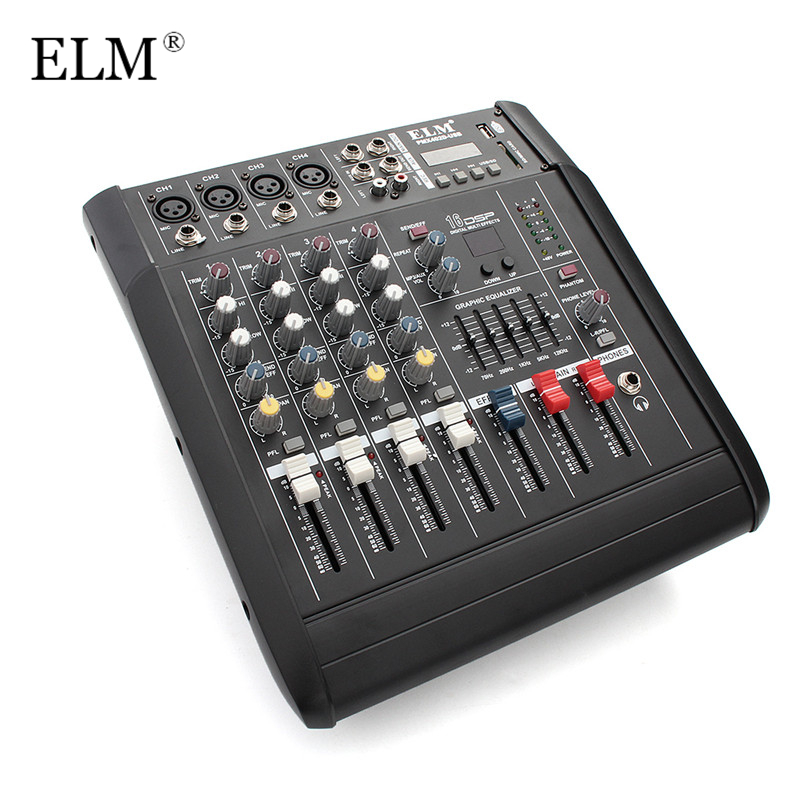 ELM Mini Karaoke Audio Mixer Controller 4Channel Microphone Sound Mixing Console Amplifier With USB Built-in 48V Phantom Power