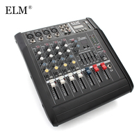 ELM Mini Karaoke Audio Mixer Controller 4Channel Microphone Sound Mixing Console Amplifier With USB Built in 48V Phantom Power