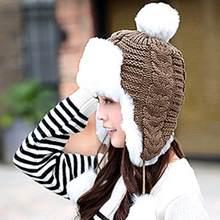1f370bae NEW Faux Fur Ball Winter Casual Keep Warm Hats Women Beanies Earflaps Warm  Ski Snow Caps