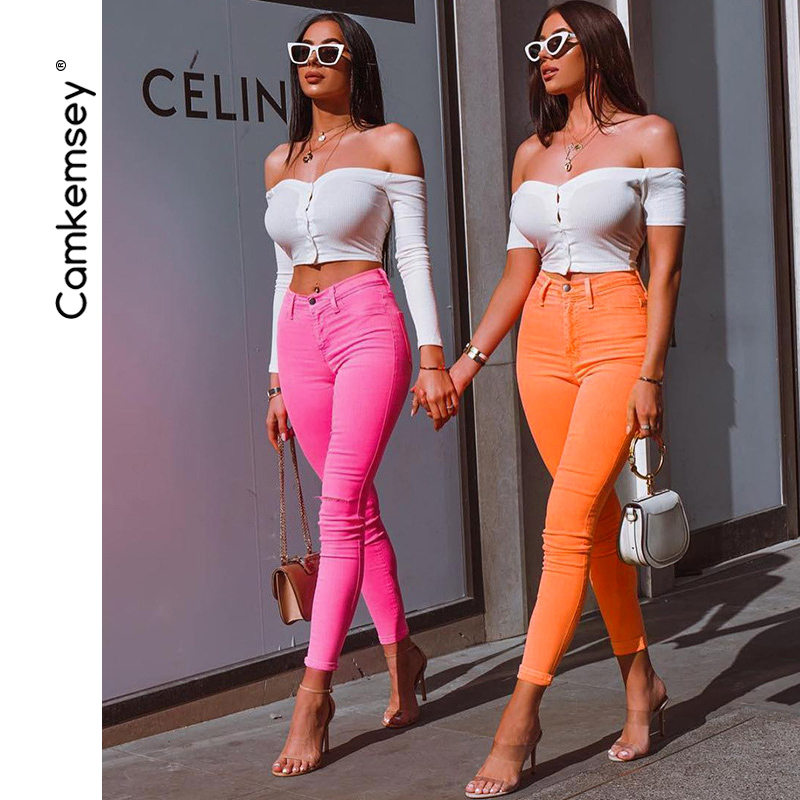 CamKemsey Fashion Candy Color High Waist Slim   Pants   2019 Women Spring Autumn Streetwear Casual Skinny   Pants     Capris