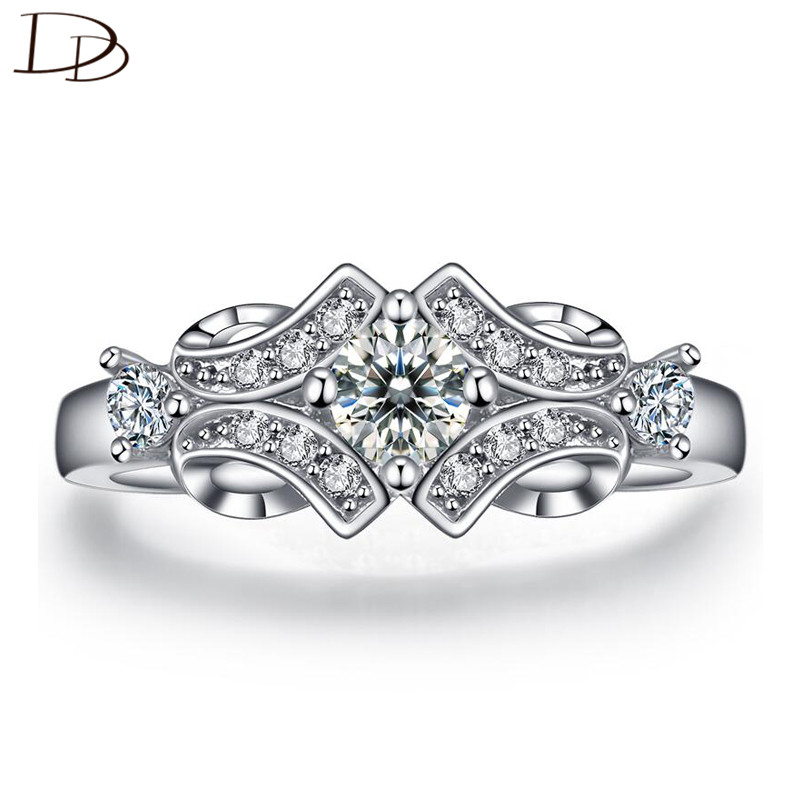Hot sale CZ diamond jewelry wedding engagement rings for women Classical white gold plated luxury Bijoux Accessories bague DD025