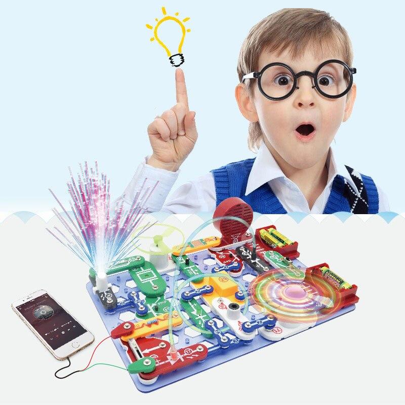 Children Electric Assemble Block Toy Kids Creative Circuit Puzzle Scientific Experiment Blocks Educational Toy Boys' Gift стоимость