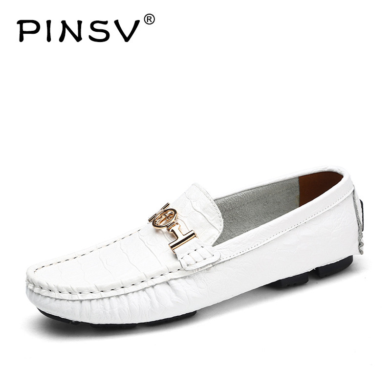 PINSV Genuine Leather Shoes Men Breathable Man Flats Casual Outdoor Leather Genuine Shoes Large Sizes Male Shoes Size39-50 merkmak hot sale men flats shoes oxfords genuine leather spring winter fur wam breathable man casual outdoor shoes bigsize 37 48