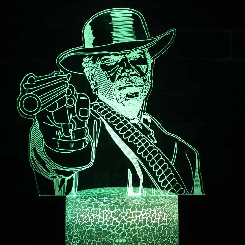 Dutch Van Der Linde Led Novelty Lighting Bedroom Decor Game Red Dead Redemption 2 Night Light Gift Home Decoration Accessories