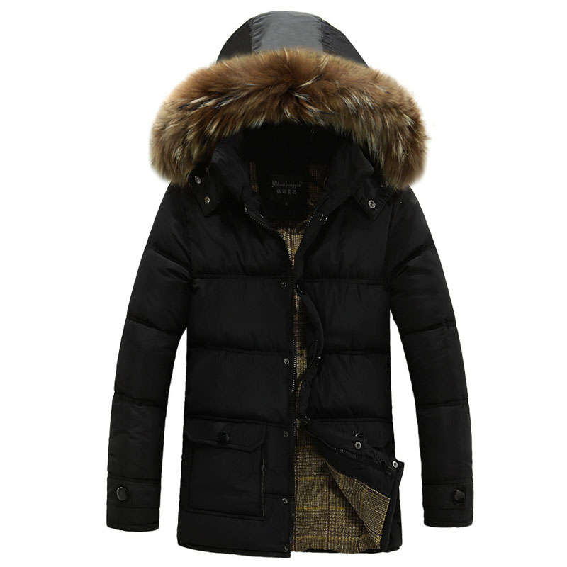 Hooded Parka Men 2017 New Winter Thick Warm Cotton Padded Coat Mid-Long Mens Quilted Jacket Fake Fur Collar Winter Jacket Men 2016 new long winter jacket men cotton padded jackets mens winter coat men plus size xxxl