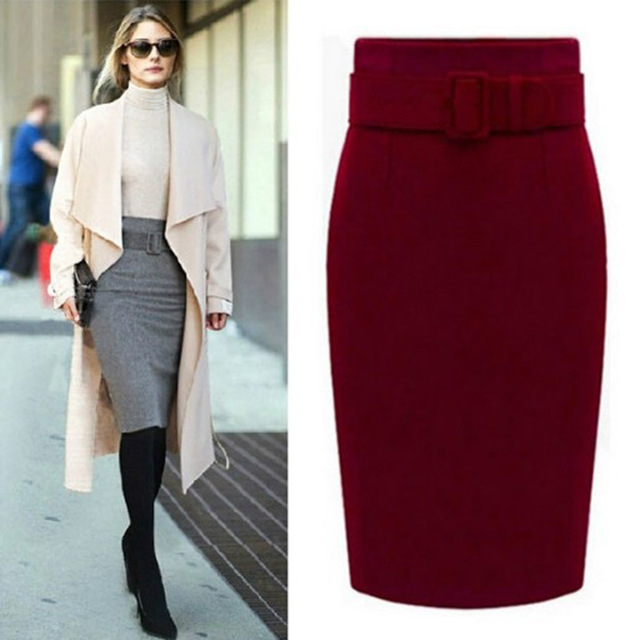 MWSFH new fashion autumn winter 2018 cotton plus size high waist saias femininas casual midi pencil skirt women skirts female