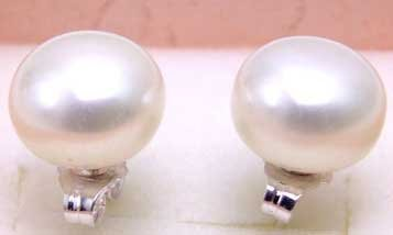 SALE Big 12-13mm AAA Natural White Flat Freshwater Pearl Earring and Stering Silver 925 stud!-253 wholesale/retail Free shipping