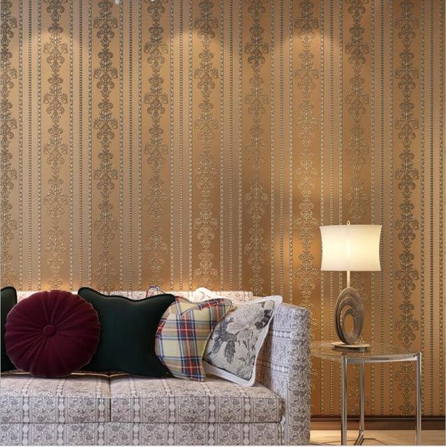 3D Blume Damast Beflockung Geprägte Tapete/Vintage Wohnkultur  Wandverkleidung Papier Für Hintergrund Schlafzimmer Wohnzimmer Restaurant