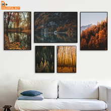 Mountain River Forest Leaves Landscape Wall Art Canvas Painting Nordic Posters And Prints Pictures For Living Room Decor