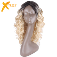 X TRESS 22inch Long Curly Middle Part Loose Wave Synthetic Wigs Glueless Heat Resistant Fiber Ombre Black Blonde Lace Part Wigs