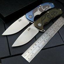 Haute qualité CH 3504 couteau pliant S35VN Stonewash lame noir or TC4 titane poignée roulements à billes camping couteau outil extérieur