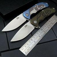 High Quality CH 3504 Folding Knife S35VN Stonewash Blade Black Gold TC4 Titanium Handle Ball Bearings